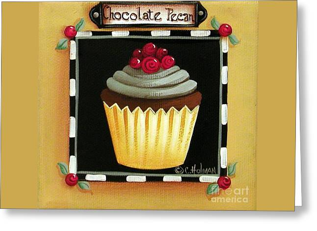 Chocolate Frosting Greeting Cards - Chocolate Pecan Cupcake Greeting Card by Catherine Holman
