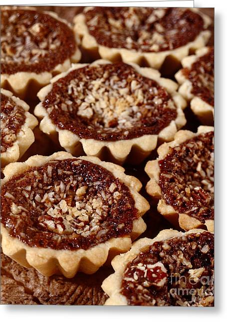 Maple Syrup Greeting Cards - Chocolate Pecan Tarteletts Greeting Card by Iris Richardson