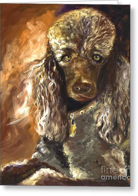Dog Portraits Greeting Cards - Chocolate Poodle Greeting Card by Susan A Becker