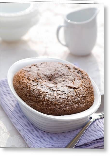 White Cloth Greeting Cards - Chocolate Pudding Greeting Card by Amanda And Christopher Elwell