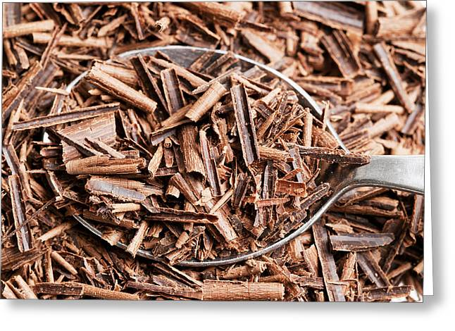 Chocolate Photos Greeting Cards - Chocolate Shavings in Spoon Greeting Card by Donald  Erickson