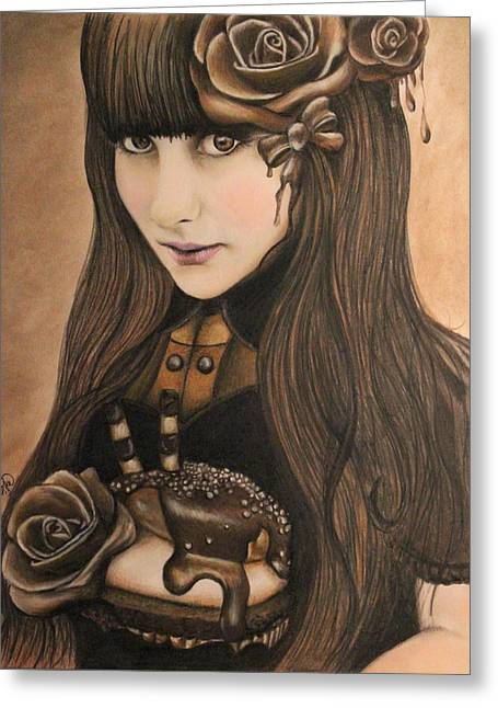 Brunette Mixed Media Greeting Cards - Chocolate Greeting Card by Sheena Pike