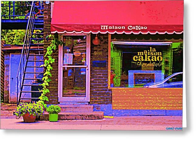 Chocolate Shop La Maison  Cakao Chocolaterie Boulangerie Patisserie Rue Fabre Montreal  Cafe Scene  Greeting Card by Carole Spandau