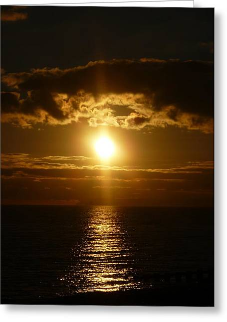 Sunset Seascape Greeting Cards - Chocolate Skies Greeting Card by Sharon Lisa Clarke