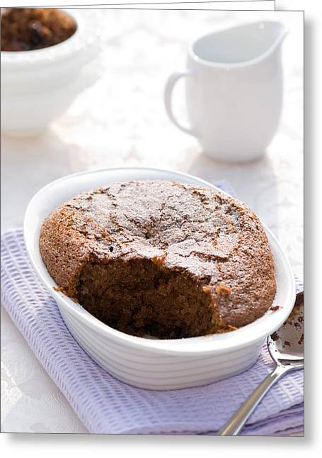 White Cloth Greeting Cards - Chocolate Sponge Pudding Greeting Card by Amanda And Christopher Elwell
