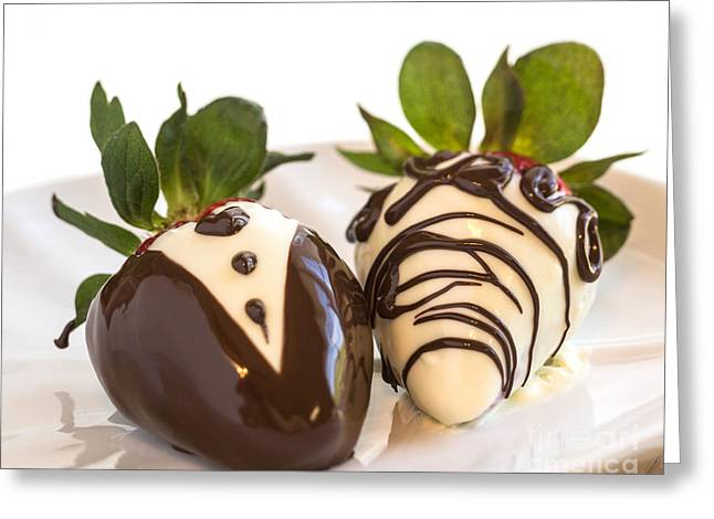 Owner Greeting Cards - Chocolate strawberry tuxedo Greeting Card by Iris Richardson