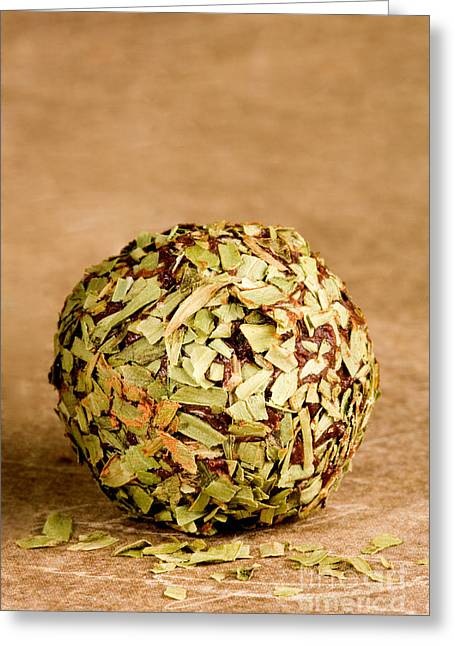 Golden Brown Greeting Cards - Chocolate Truffles rolled in Thyme Greeting Card by Iris Richardson