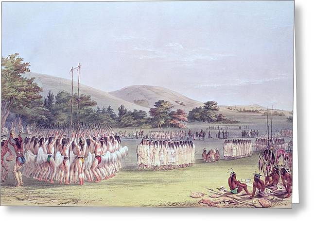 Dance Photographs Greeting Cards - Choctaw Ball-play Dance, 1834-35 Coloured Engraving Greeting Card by George Catlin