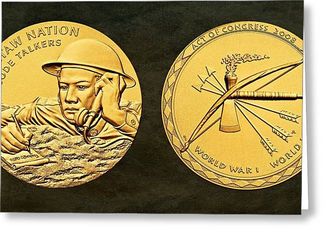 Wwi Digital Art Greeting Cards - Choctaw Nation Tribe Code Talkers Bronze Medal Art Greeting Card by Movie Poster Prints