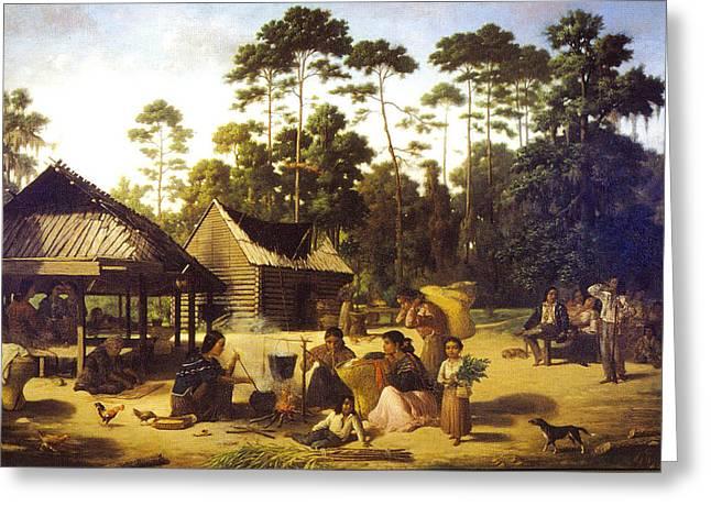Log Cabin Digital Greeting Cards - Choctaw Village Greeting Card by George Catlin