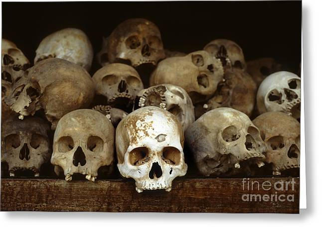 Immoral Greeting Cards - Choeung Ek Killing Field Skulls Greeting Card by Kevin Miller