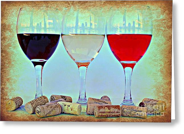 Wine Reflection Art Greeting Cards - Choice Greeting Card by Clare Bevan
