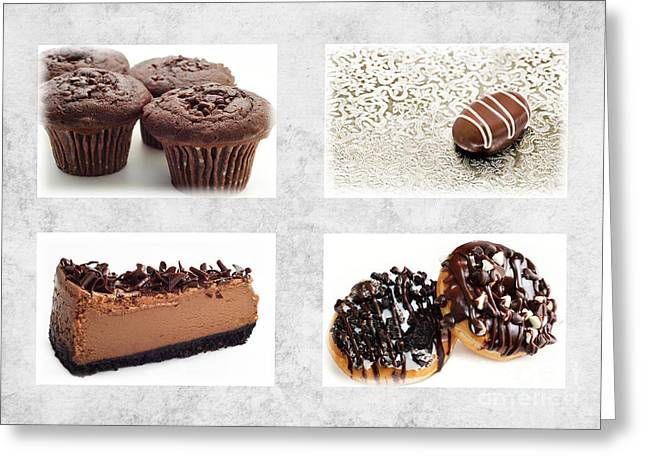 Milk And Cookies Greeting Cards - Choice Of Chocolate 4 x 4 Collage 1 - Bakery Sweets Shoppe Greeting Card by Andee Design