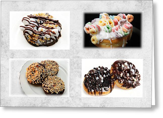 Chip Mixed Media Greeting Cards - Choice Of Donuts 4 x 4 Collage 1 - Bakery - Sweets Shoppe Greeting Card by Andee Design
