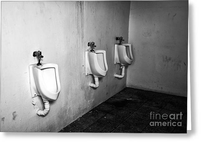 Bathroom Prints Greeting Cards - Choices in Mykonos mono Greeting Card by John Rizzuto
