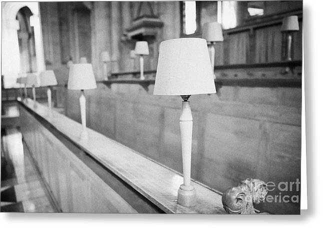 Lampshade Greeting Cards - Choir Stalls With Red Lampshades St Annes Cathedral Belfast Northern Ireland Uk Greeting Card by Joe Fox