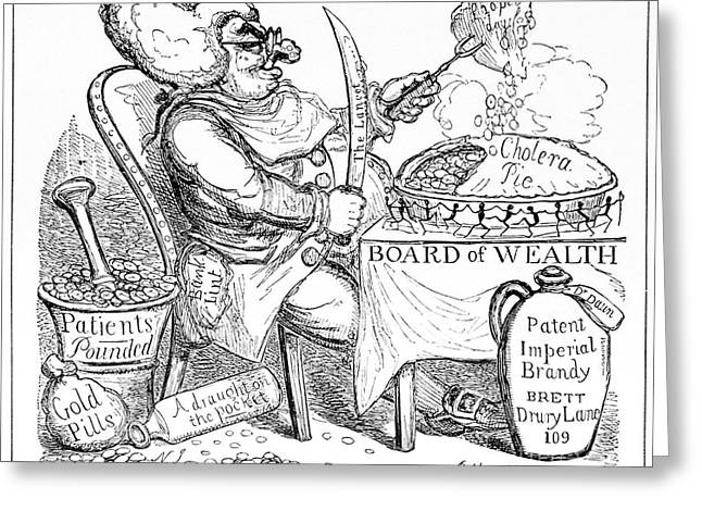 Cruikshank Greeting Cards - Cholera Doctor, Satirical Artwork Greeting Card by Spl