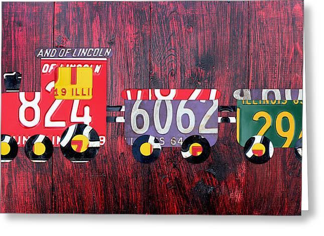 Road Trip Greeting Cards - Choo Choo Train License Plate Art Greeting Card by Design Turnpike