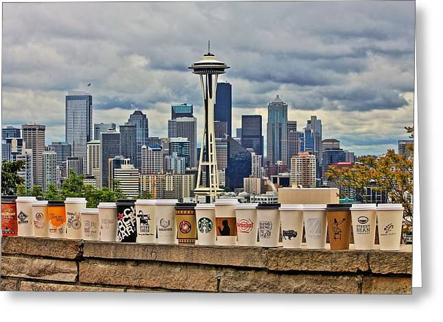 Seattle Skyline Greeting Cards - Choose Your Brew Greeting Card by Benjamin Yeager