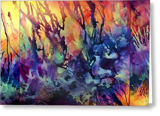 Purple Abstract Greeting Cards - Choosing Position 1 Greeting Card by Michael Lang