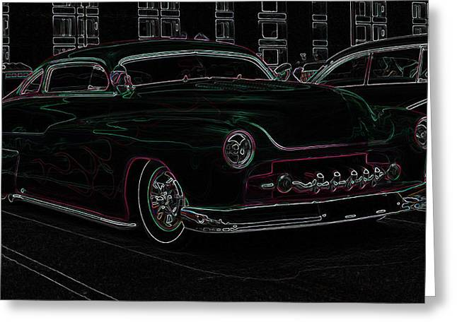 49 Chevy Greeting Cards - Chopped Merc Glow Greeting Card by Steve McKinzie