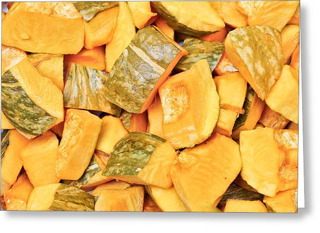 Stew Greeting Cards - Chopped squash Greeting Card by Tom Gowanlock