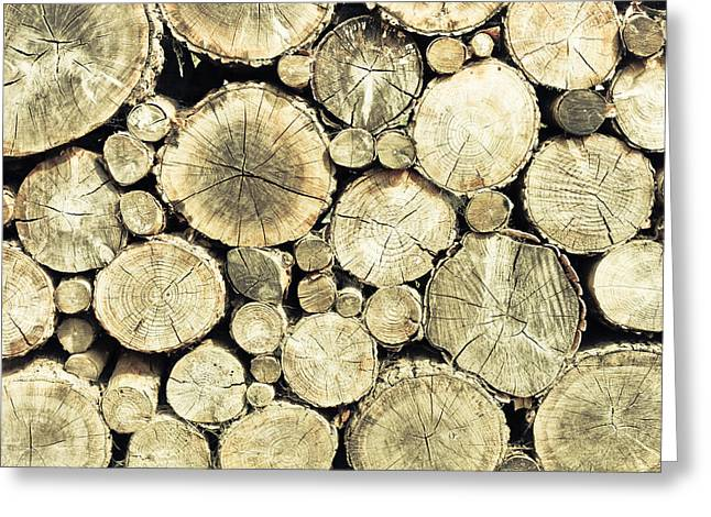 Stack Greeting Cards - Chopped wood Greeting Card by Tom Gowanlock
