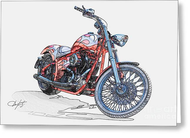 Pen And Ink Drawing Photographs Greeting Cards - Chopper Illustration III Greeting Card by Dave Koontz
