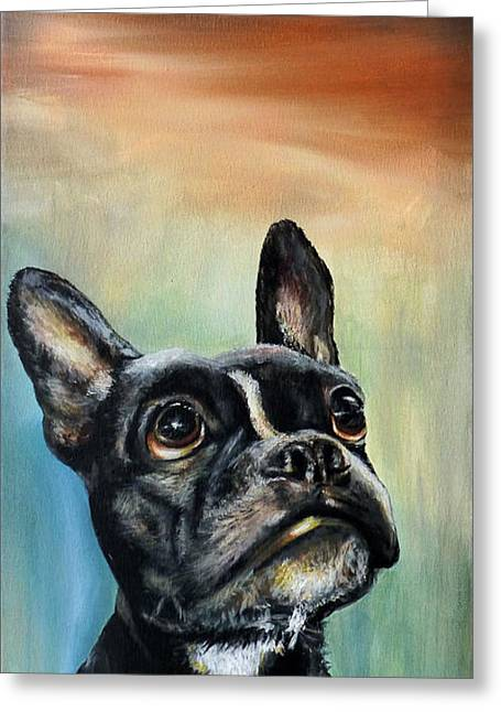 Obey Paintings Greeting Cards - Chopper the French Bulldog Boston Terrier Mix Greeting Card by Michelle Iglesias