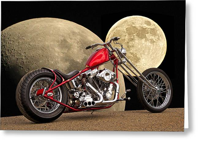 Classic Saddle Greeting Cards - Chopper Two Moons Greeting Card by Dave Koontz