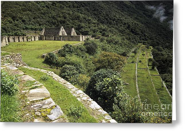 Lost Civilization Greeting Cards - Choquequirao terraces Greeting Card by James Brunker