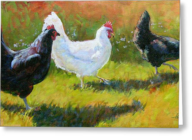 White Chicken Greeting Cards - Chorus Girls II Greeting Card by Tracie Thompson