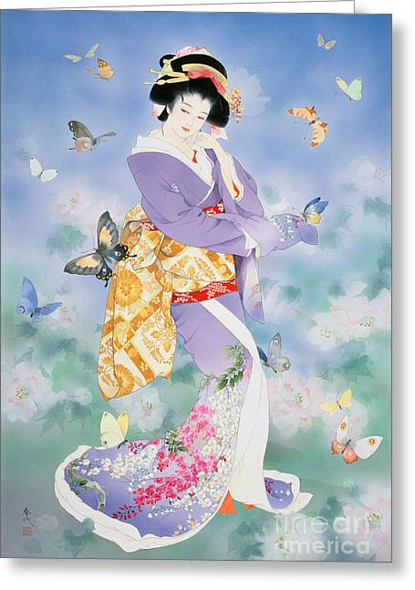 Art Print Digital Art Greeting Cards - Chou No Mai Greeting Card by Haruyo Morita