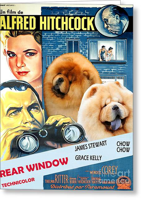 Chow Chow Art Canvas Print - Rear Window Movie Poster Greeting Card by Sandra Sij