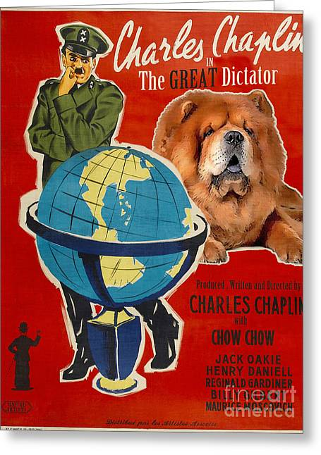 Chow Greeting Cards - Chow Chow Art Canvas Print - The Great Dictator Movie Poster Greeting Card by Sandra Sij