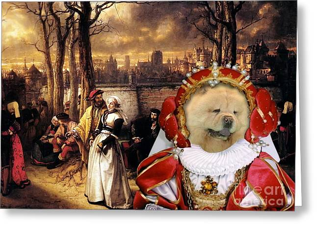 Chow Greeting Cards - Chow Chow Art Canvas Print Greeting Card by Sandra Sij