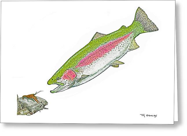 Trout Fishing Pastels Greeting Cards - Chow time Greeting Card by Tim Shoales