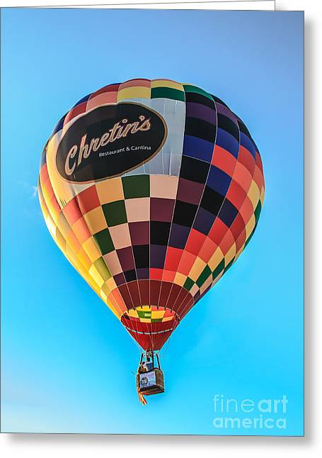 Chretin's Hot Air Balloon Greeting Card by Robert Bales