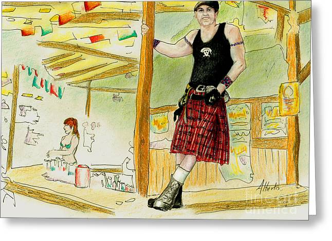 Bartender Drawings Greeting Cards - Chris at The Broken Spoke Saloon Greeting Card by Albert Puskaric