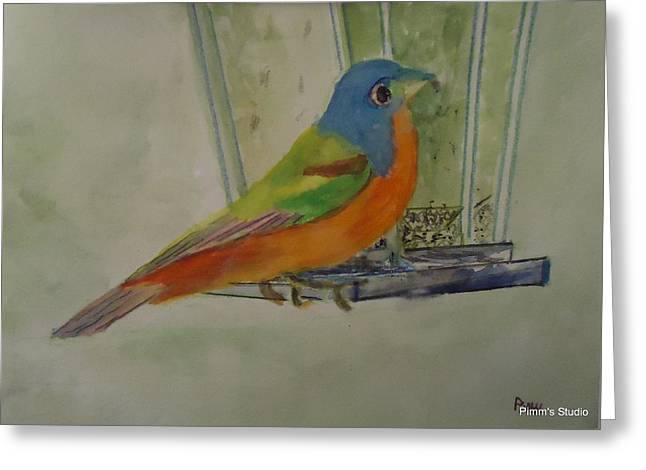 Chris' Birdfeeder Greeting Card by Betty Pimm
