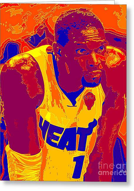 Miami Heat Digital Art Greeting Cards - Chris Bosh Greeting Card by Dalon Ryan
