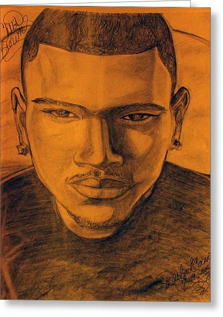 Super Stars Drawings Greeting Cards - Chris Brown Greeting Card by Darlene Ricks- Parker