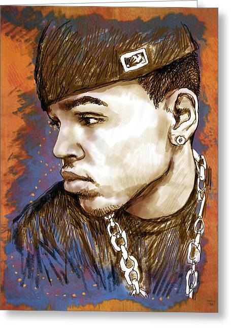 Taught Greeting Cards - Chris Brown  - stylised drawing art poster Greeting Card by Kim Wang