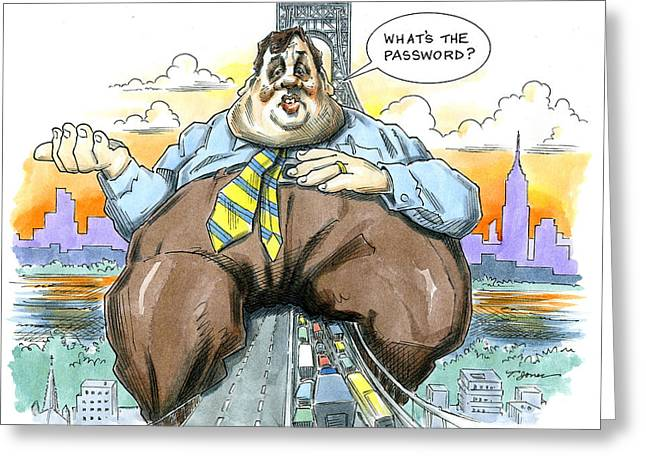 Editorial Drawings Greeting Cards - Chris Christie Greeting Card by Taylor Jones