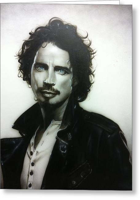 Contemporary Paintings Greeting Cards - Chris Cornell Greeting Card by Christian Chapman Art
