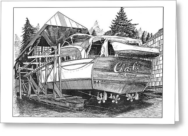 Chris Craft Custom Greeting Cards - 53 foot Chris Craft annual haul out Greeting Card by Jack Pumphrey