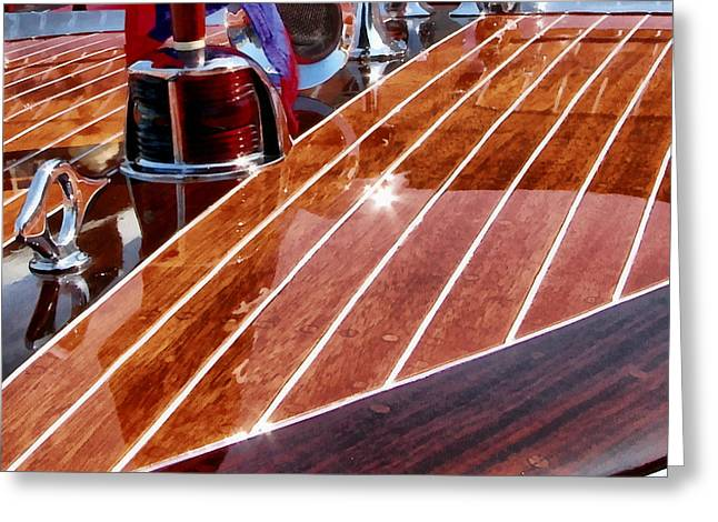 Wooden Ship Greeting Cards - Chris Craft Bow Greeting Card by Michelle Calkins