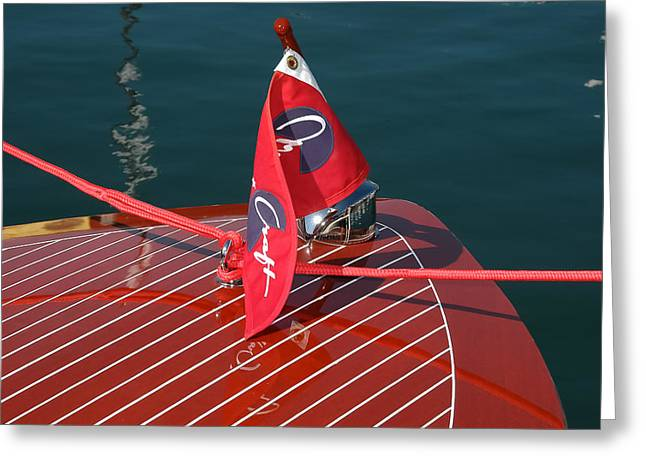 Mahogany Greeting Cards - Chris-Craft Flag Greeting Card by Steven Lapkin