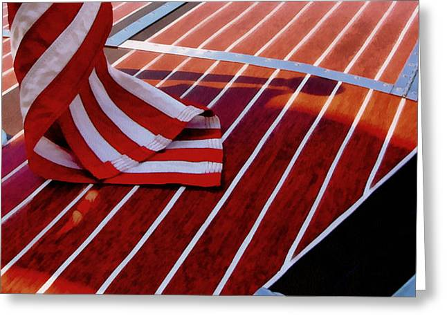 Chris Craft with American Flag Greeting Card by Michelle Calkins