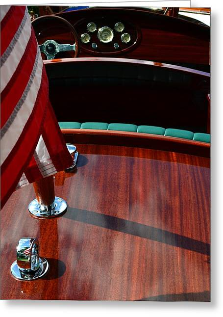 Rope Greeting Cards - Chris Craft with Flag and Steering Wheel Greeting Card by Michelle Calkins